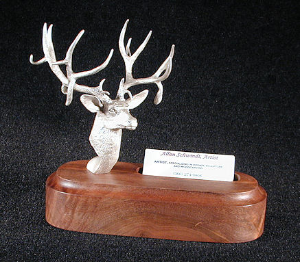 Mule Deer Silver Sculpture