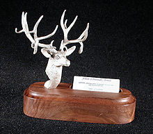 Mule Deer Buck Silver Sculpture