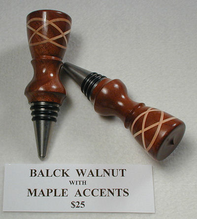 Walnut w/Maple accents Bottle Stopper